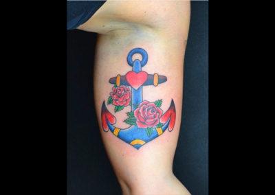 Tattoo Anker Herzen Rosen