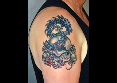 Tattoo Totenkopf Drache